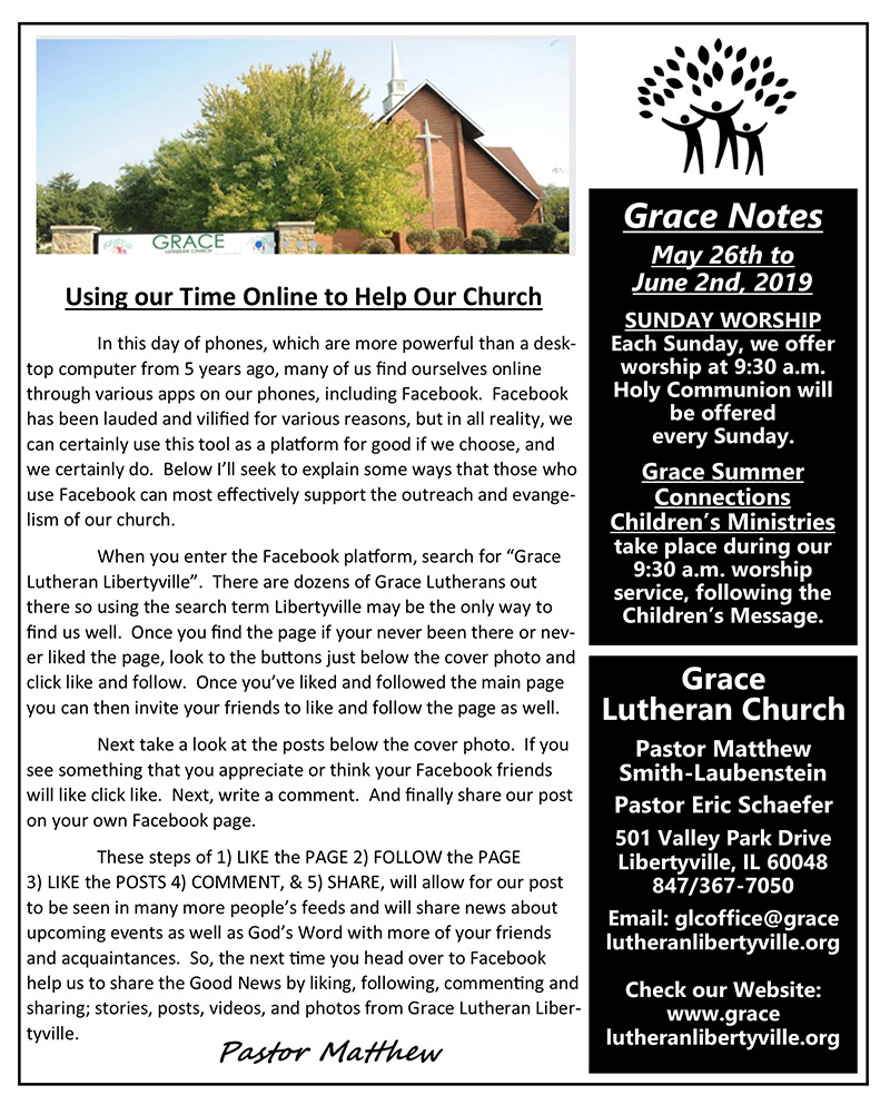 Grace Notes 5-26-19 - Grace Lutheran Church, ELCA